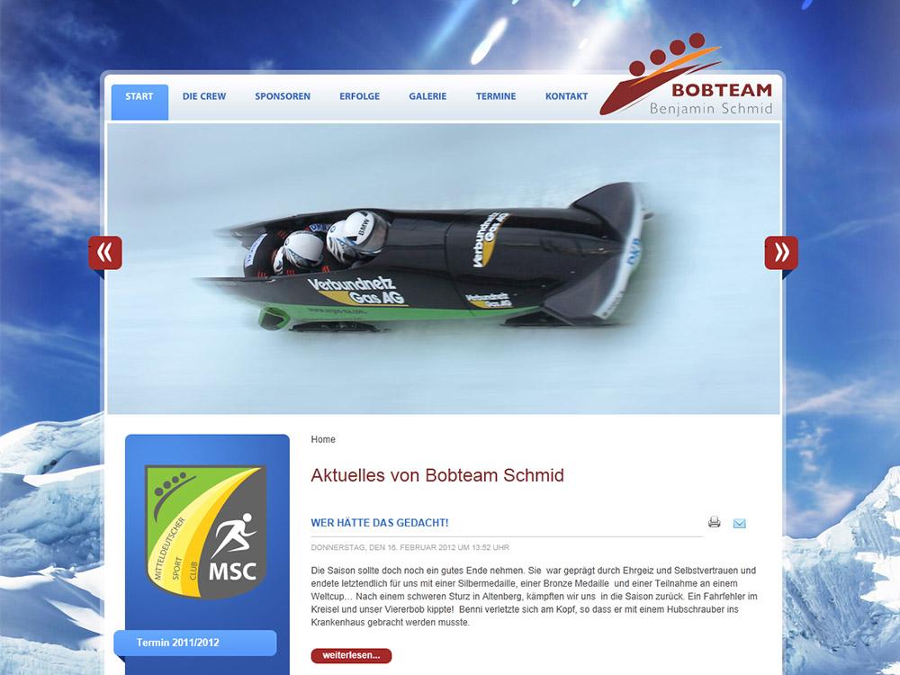 Website für Bobteam Schmid